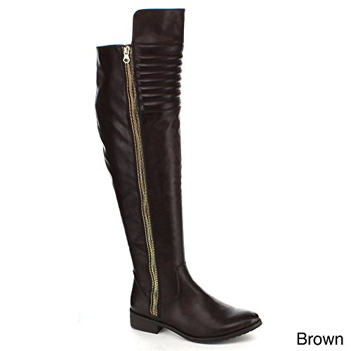 YOKI CLYDEE Women's Simple But Generous Over The Knee High Riding Boots, Color:BROWN, Size:7.5