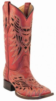 Lucchese Women's Handcrafted 1883 Vintage Inlay Cowgirl Boot Square Toe Red US
