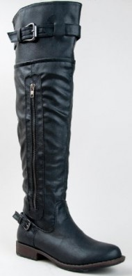 Bamboo MONTAGE-03N Over the Knee OTK Buckle Zipper Motorcycle Riding Boot