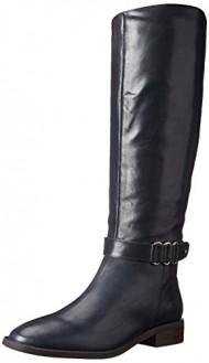 Nine West Women's Heavinli Leather Boot, Navy, 8 M US
