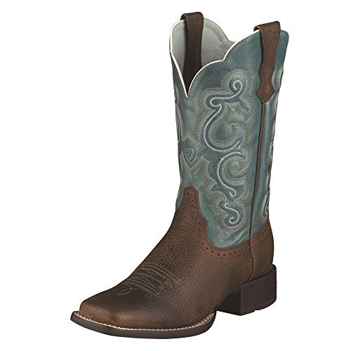 Ariat Women's Quickdraw Brown Oiled Rowdy / Sapphire Blue 11″ Western Boots 9 B US