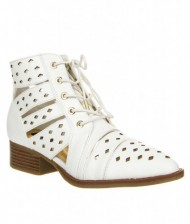 Women's Trendy Cut Out Lace Up Ankle Bootie STEALTH