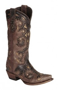 Lucchese Women's Handcrafted 1883 Studded Fiona Cowgirl Boot Snip Toe Cafe US