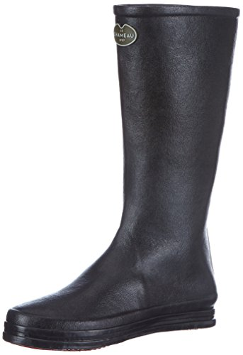 Le Chameau Women's Cabourg Rubber Boot,Black/Carmine Red,7 M US