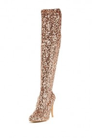 Steve Madden Womens Nikita Sequined Tall Evening Boot, Rose Gold, US 7