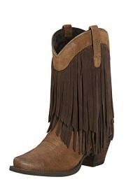 Ariat Women's Gold Rush Fringe Cowgirl Boot Snip Toe Mocha US