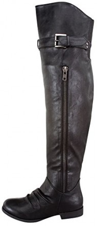 Top Moda LAND-4 Women's Over The Knee Buckle Riding Boots, Color:BLACK, Size:6.5