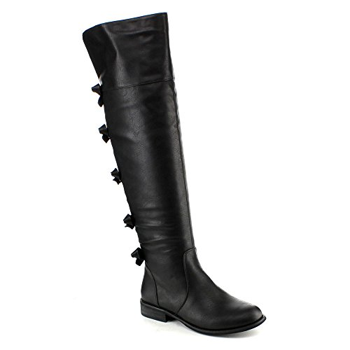 ADRIANA KRISTEN-02 Women's Over The Knee High Pull On Low Heels Riding Boots, Color:BLACK, Size:9