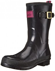 Joules Women's Kelly Welly Gloss Rain Boot, Black, 10 M US