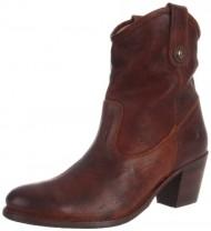 FRYE Women's Jackie Button Short Boot, Cognac Pressed Nubuck, 6 M US