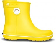 Crocs CROCBAND JAUNT SHORTY Ladies Short Wide Wellington Boots Yellow Yellow we Uk 4