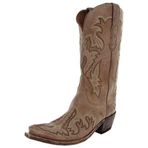 Lucchese Women's Handcrafted 1883 Brianna Saffia Goat Cowgirl Boot Snip Toe Tan US