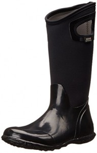 Bogs Women's North Hampton Solid Rain Boot, Black, 12 M US