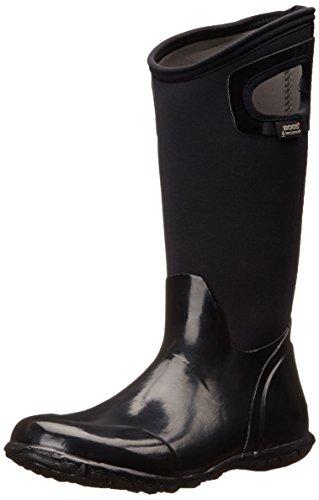 Bogs Women's North Hampton Solid Rain Boot, Black, 12 M US