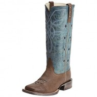 Ariat Women's Ranch Luxe Cowgirl Boot Square Toe Brown US