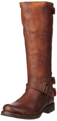 FRYE Women's Veronica Back-Zip Boot, Cognac Stoned Antiqued, 6 M US