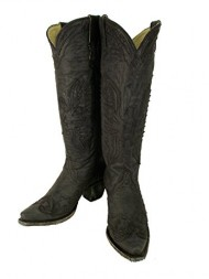 Corral Women's Vintage Eagle Overlay Tall Cowgirl Boots Snip Toe Black (7.5)