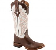 Lucchese Women's Resistol Ranch White with Natural Oil Calf Brown Leather Cowgirl Boots 9 M