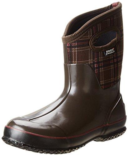 Bogs Women's Classic Mid Winter Plaid Waterproof Winter & Rain Boot,Chocolate Multi,9 M US