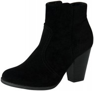 Breckelles Women's HEATHER-34 Faux Suede Chunky Heel Ankle Booties