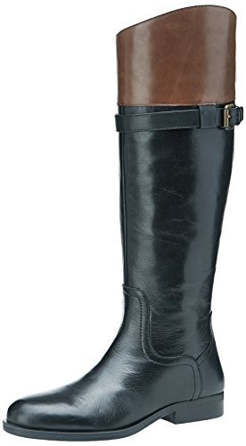 Nine West Women's Velika Leather Riding Boot, Black/Dark Brown, 8.5 M US