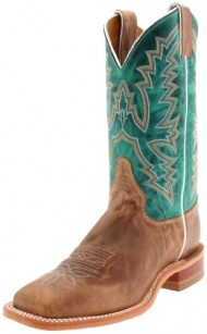 "Justin Boots Women's U.S.A. Bent Rail Collection 11″ Boot Wide Square Double Stitch Toe Leather Outsole,Burnished Tan,Black Tan ""America""/Turquoise Ponteggio Calf,11 B US"