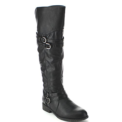 Top Moda FAY-42 Women's Over The Knee Buckle Riding Boots, Color:BLACK, Size:7.5