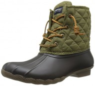 Sperry Top-Sider Women's Saltwater Quilted Nylon Rain Boot, Brown/Olive, 9 M US