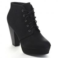 Bella Marie Goldie-11 Women's Fashion High Chunky Heel Platform Lace Up Booties,Black,8.5
