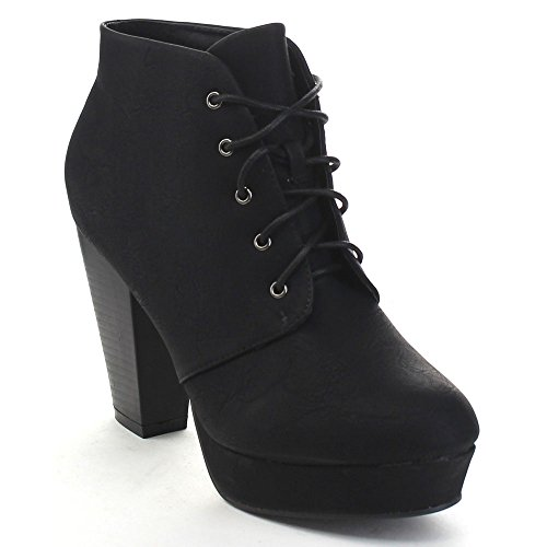 Bella Marie Goldie-11 Women's Fashion High Chunky Heel Platform Lace Up Booties,Black,8.5