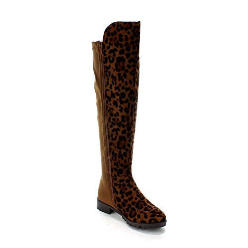 FOREVER FIFTY-50-3 Women's Fashion Two Tone Over The Knee High Print Riding Boot,BROWN LEOPARD,7.5