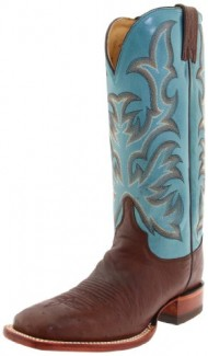 Justin Boots Women's Aqha Lifestyle Collection 13″ Remuda Series Boot Wide Square Double Stitch Toe Leather Outsole,Antique Brown Smooth Ostrich/Turquoise Crunch Goat,6 B US