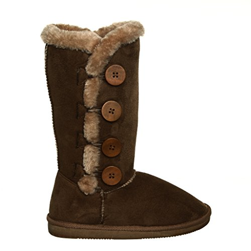 Fur Lined Mid-calf Snow Boots! NEW STYLE for 2014 Winter! BEST SELLER!! (9, chestnut) [Apparel]