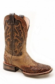 Stetson Women's Two-Tone Hand Tooled Wingtip Cowgirl Boot Square Toe Brown US