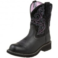 Ariat Women's Fatbaby II Western Boot, Black Deertan/Orchid, 10 M US