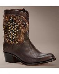 Frye Women's Deborah Deco Short Cowgirl Boot Round Toe Dark Brn US