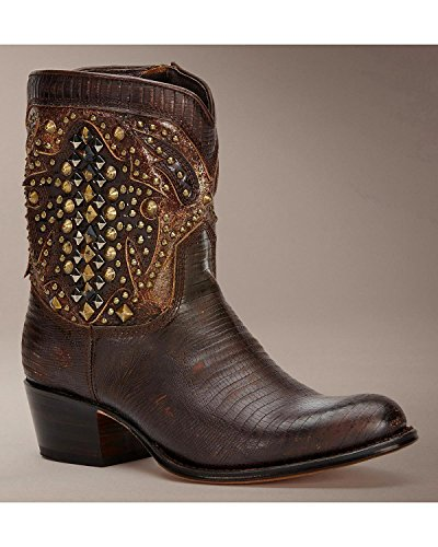 Frye Women's Deborah Deco Short Cowgirl Boot Round Toe Dark Brn US