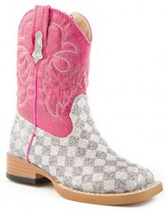 Roper Baby-Girls Bling Square Toe Boot, Grey, 5 (Toddler)