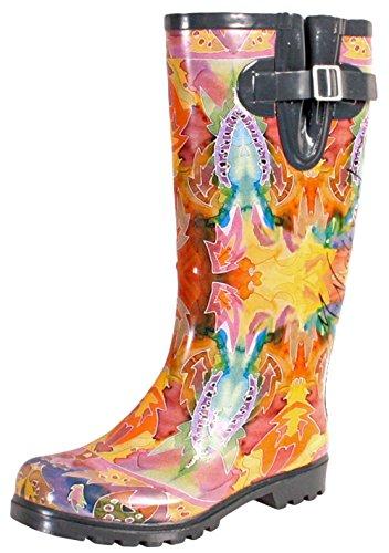Women's Butterfly Whirl Rubber Rainboots – Size 10