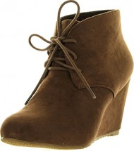 Anna Womens Sally-5 Adorable Almond Toe Lace Up Wedge Ankle Bootie