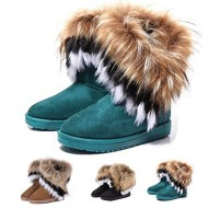 Gaorui women winter warm high long snow Ankle boots faux fox rabbit fur tassel shoes-US8_Brown