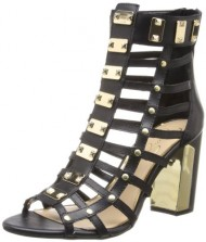 Jessica Simpson Women's Justinah Gladiator Sandal,Black Zip Leather,6.5 M US