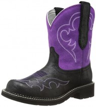 Ariat Women's Fatbaby Heritage Harmony Western Boot,  Roughed Black/Fuchsia,  8 M US
