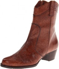 Walking Cradles Women's Cowgirl-2 Ankle Boot,Tan Tooled Leather,8.5 M US