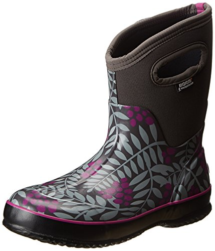 Bogs Women's Classic Mid Winterberry Waterproof Winter & Rain Boot,Gray Multi,10 M US