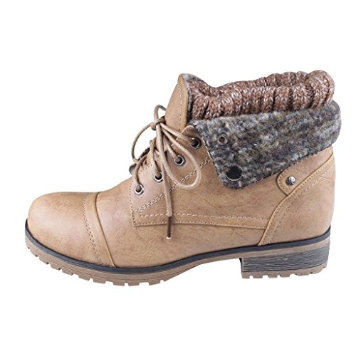 REFRESH WYNNE-01 Women's combat style lace up ankle bootie,7.5 B(M) US,Tan