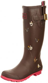 Joules Welly Print Dark Brown Chicken Women's Rain Boots (7 B(M) US)