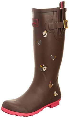 Joules Welly Print Dark Brown Chicken Women's Rain Boots (7 B(M) US)