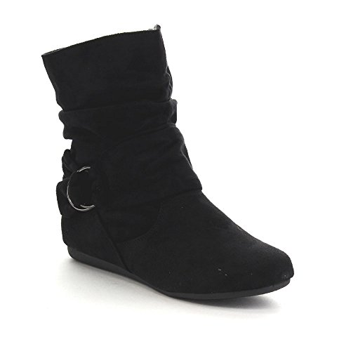 Beston GA43 Women's Fashion Calf Flat Heel Side Zipper Slouch Ankle Boots, Color:BLACK, Size:9