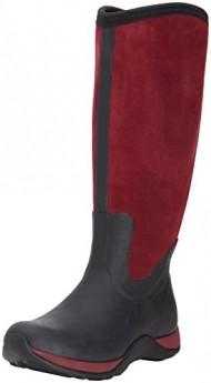 MuckBoots Women's Artic Adventure Suede Zip Snow Boot,Black/Maroon,8 M US